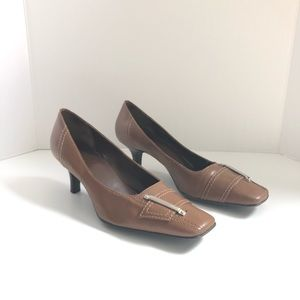 Shoes - Square Toe Heels Pumps Leather Buckle Brown Tan